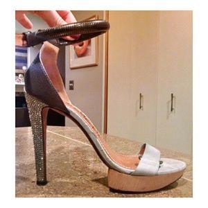 Lanvin Wood Heel Plastic Leather Rhinestone Heels